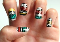 Cool Tribal Nail Art Designs, Tribal nails are created with curving and angular lines. This type of nail art incorporates bold patterns, colors and shapes. Tribal nail art worked t. Aztec Nail Designs, Nail Art Designs, Aztec Nail Art, Nail Art Stripes, Tribal Nails, Geometric Nail, Striped Nails, Nailart, Finger