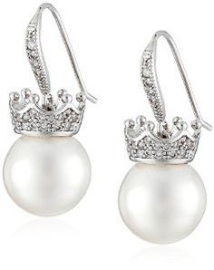 18k White Gold Plated White Shell Pearl with Cubic Zirconia Accented Crown Drop Earrings (12-12.5 mm)