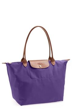 LONGCHAMP 'LARGE LE PLIAGE' TOTE - PURPLE. #longchamp #bags #shoulder bags #hand bags #nylon #leather #tote #