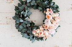 Peony and eucalyptus wreath by LaurenConrad.com Article : DIY:Four gorgeous holiday flower wreath (the other three are very very cute as well!!)