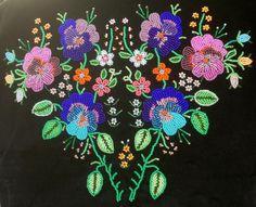 Beaded embroidery from Kocierzew, region of Łowicz, central Poland. Source: etnograficzna.pl