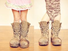 Kids in Daddies Combat Boots. This will be our kids one day!!! Love it.