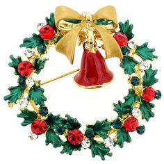 Christmas Bell Swarovski Crystal Pin Brooch