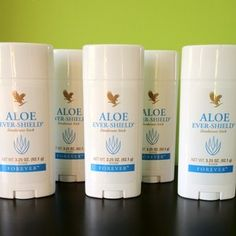 Aloe Ever-Shield Deoderant  Made with stabilized Aloe Vera gel, this gentle blend of ingredients contains none of the harmful anti-perspirant aluminum salts found in many other deodorants on the market.  • Contains no aluminum salts  • Does not stain clothes  • Can be used directly after shaving or waxing  • Rich in texture