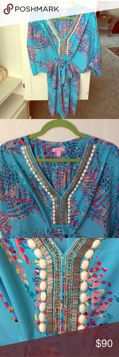 Lilly Pulitzer Caftan Beaded Dress Lilly Pulitzer Caftan Beaded Dress - beautiful in person -  size medium - ties around waist - worn once for a couple hours - 100% polyester Lilly Pulitzer Dresses