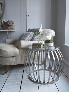 Exceptionnel Sourced In Sweden, This Fabulous Riveted, Barrel Shaped Metal Side Table  With A Solid Glass Top Is A Stunning Addition To Any Living Room.