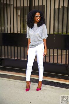Oversize Sweater and Metallic Pumps