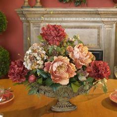 Silk Floral Arrangement -English Garden Peony and Hydrangea