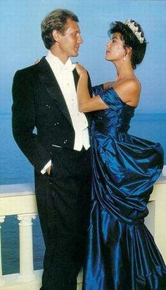 Handsome Stefano Casiraghi, Italian Businessman & World Speedboat Champion, with His Beautiful & Elegant Wife Princess Caroline of Monaco.  circa 1987-88.