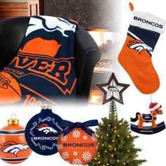 Denver Broncos Christmas Ornaments, Stocking, Tree Topper, Blanket