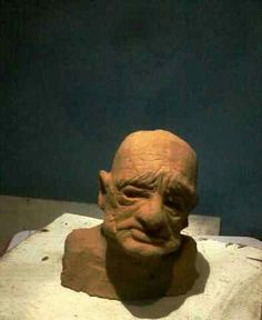 | oldman | sculpt | stoneware | face | lesson | head | sad | depresion |