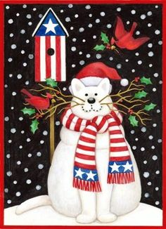 Patriotic Christmas puss [pinner's title] -- by Stephanie Stouffer