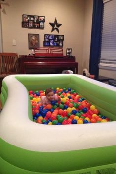 DIY ball pit birthday party. I looked into renting a ball pit and couldn't find one small enough. Then I came up with this idea. Blow up pool filled with ball pit balls. We purchased the balls on-line and used a friends pool. It made for hours of safe fun and a great way to keep them all in one place by malinda