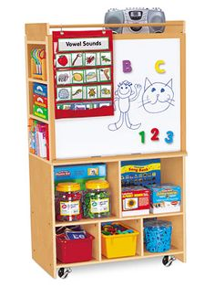 Lakeshore's Classic Birch Store-It-All Teaching Center combines 2 teaching easels and tons of storage space—in one incredible center!