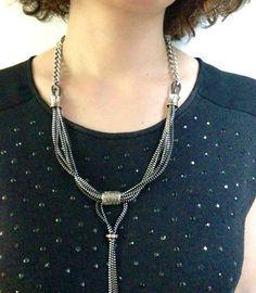 cremallera de plata Collar ajustable