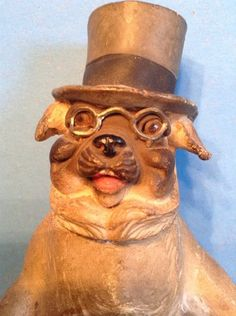 Antique Pug Dog Candy Container. Germany.