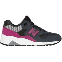 New Balance Women 580 Suede & Mesh Sneakers ($160) ❤ liked on Polyvore featuring shoes, sneakers, new balance footwear, rubber sole shoes, mesh shoes, suede leather shoes and new balance trainers