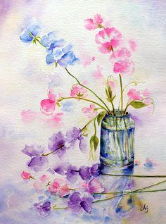 Original watercolour painting sweet peas in blue purple and pink garden flowers watercolor