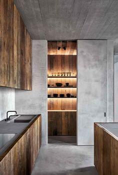 Minimal Kitchen, Modern Kitchen Design, Interior Design Kitchen, Loft Kitchen, Kitchen Sets, Kitchen Decor, Urban Loft, Cuisines Design, Interior Inspiration
