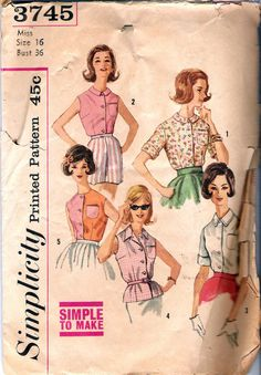 Vintage Early 1960s Simplicity 3745  Five Blouses Miss size 16 bust 36, waist 28, hip 38 on Etsy, $4.00