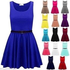 24615629a3c Womens Sleeveless Flared Franki Party Lot Ladies Plus Size Skater Dress Top  8-26