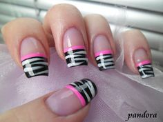 Pandora nails: Zebra french #nail #nails #nailsart