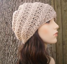Knit Hat Linen Cream Womens Hat Swirl Beanie in от pixiebell 0c6e090abde2