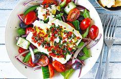 Baked feta salad