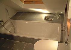 sunken bath for attic conversion sanctuary! Small Attic Bathroom, Loft Bathroom, Bathroom Interior, Bathroom Ideas, Bedroom Small, Bedroom Green, Small Bathrooms, Attic Spaces, Attic Rooms