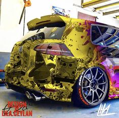 VW mk7 R Spongebob Design Spongebob, Volkswagen Golf, Bling Car Accessories, Top Luxury Cars, Vw Cars, Car Painting, Modified Cars, Expensive Cars, Car Wrap