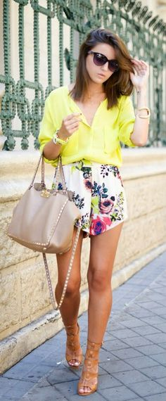Everyday New Fashion: Floral Shorts Top Neon