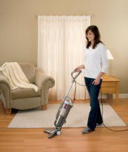 The V-shape of the PowerEdge Pet Stick Vacuum's base helps you capture both large debris and fine particles without the use of a brush roll. The vacuum's V-shaped wipers force all of the large debris on your hard floor into the center suction path, while the fine particles are suctioned along the arms. And since the wipers are made of hair-attracting rubber material, they help collect more pet hair than suction alone. Also, the shape of the base allows for easy cleaning along furniture legs…