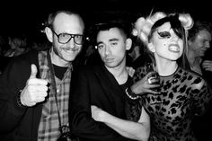 TERRY RICHARDSON, NICOLA FORMICHETTI and LADY GAGA at the after party for the Thierry Mugler show at Maxime, Paris. Photo Terry Richardson