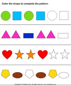 patterning worksheet Color the Shapes to Continue Patterns Worksheet - Turtle Diary Sequencing Activities, Fun Math, Preschool Activities, Pattern Worksheets For Kindergarten, Free Math Worksheets, Petite Section, Art Lessons Elementary, Kids Learning, Shapes