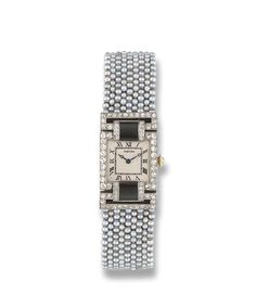 A LADY'S ART DECO SEED PEARL AND GEM-SET WRISTWATCH, BY CARTIER   The square white dial with black Roman numerals and blued steel hands within rose-cut diamond border and onyx shoulders to the seed pearl mesh bracelet and diamond and onyx buckle deployant clasp, millegrain setting, circa 1920, 15.2 cm. inner circumference, with French assay marks for platinum  Dial signed Cartier, Nos. 20296, 11558 & 4560, movement signed by European Watch and Clock Co. Inc., maker's mark EJ for Edmond…