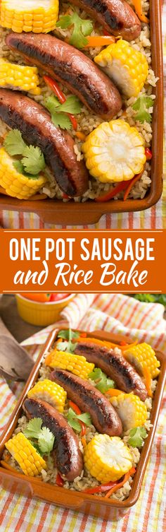 This recipe for a sausage and rice casserole is a one pot meal with sausages, rice and seasonal vegetables, all cooked together for a simple and quick dinner.