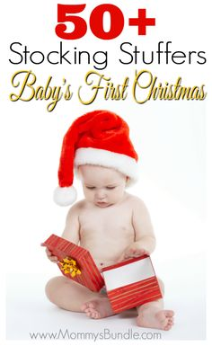 Easy & affordable stocking stuffer ideas for baby! These make great small gifts to celebrate baby's first Christmas!
