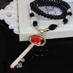30% OFF! Ailisha Korean Accessory Retro Cat's Eye Crystal Long Sweater Necklace 3102 Key Red #madeinchina #necklace >http://dxurl.com/RYJ4