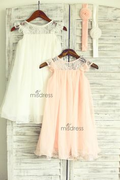 Ivory Blush Pink Lace Chiffon Flower Girl Dress Cap door misdress, $46.99