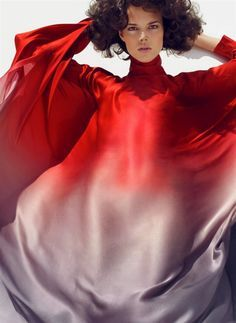 Freja Beha Erichsen by Sølve Sundsbø for Harper's Bazaar (March 2008). Recreate look by dip-dyeing or ombre-dyeing fabric in red dye and purple dye. #ritdye #fashion #style #DIY