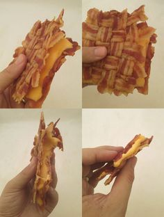 OMG!  Ok, maybe with lettuce and tomato, not cheese.  Woven Bacon Grilled Cheese Sandwich...