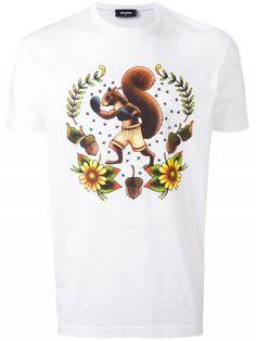 Squirrel Print T-shirt Mens White Shorts, White Short Sleeve Shirt, Print Logo, Dsquared2, Printed Cotton, Man Shop, Mens Tops, T Shirt, Clothes