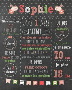 """Items similar to Custom first birthday poster """"Shabby chic"""", FICHIER NUMÉRIQUE, 1 year old baby party, slate board, blackboard on Etsy Baby First Birthday, Girl Birthday, Fete Emma, Bebe 1 An, Shabby Chic Cakes, First Birthday Chalkboard, Karten Diy, Chalkboard Poster, Thing 1"""