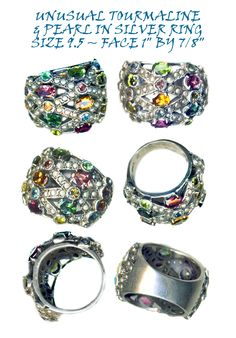 Ring Knuckle Buster Multi Hued Tourmalines Pearl Encrusted Sterling Silver ~ R C Larner Buttons at eBay & Etsy        http://stores.ebay.com/RC-LARNER-BUTTONS