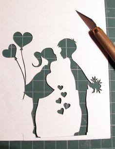 Boy Girl paper cut - cute