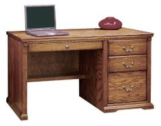 "Scottsdale 48"" Wood Executive Desk by Legends Furniture by Legends Furniture. $678.00. Matching hutch available separately.. Overall dimensions are 48-3/4""W x 24-7/8""D x 30""H.. All drawers on ball bearing glides.. Oak solids and veneers construction.. Made in USA. Made in the USA 48"" Wood Computer Desk from the Scottsdale Collection features oak solids and veneer construction, a beautiful rustique finish, traditional style and dentil molding. Also have two utilit..."