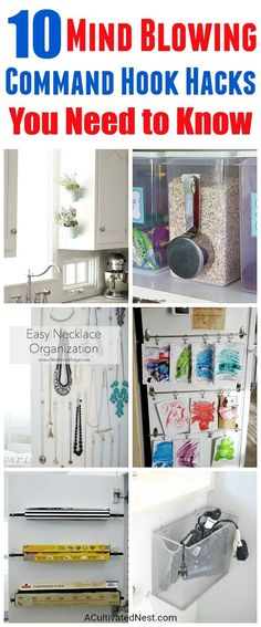 10 Mind Blowing Command Hook Hacks - Did you know that there are tons of ways to use Command Hooks besides the usual? Check out these 10 Command Hook hacks for some great inspiration! home organizing ideas, storage hacks, things to do with Command Hooks, Organizing with Command Hooks, How to Organize, Organization Hacks, Clutter Free Home #hacks #organize #organizing #organization #organizingclutter