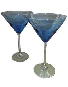 Clear Blue Martini Stemware S/2
