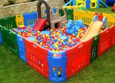 ideas for children playroom indoor playground ball pits 1 Year Old Birthday Party, Baby Boy 1st Birthday, Boy Birthday Parties, Kids Backyard Playground, Backyard For Kids, Outdoor Fun For Kids, Outdoor Play, Mickey Mouse Crafts, Backyard Birthday