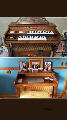 A Kimball Swinger Entertainer organ repurposed into a computer desk.